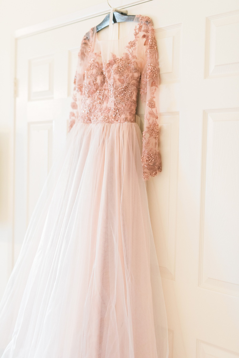 Custom made blush wedding dress