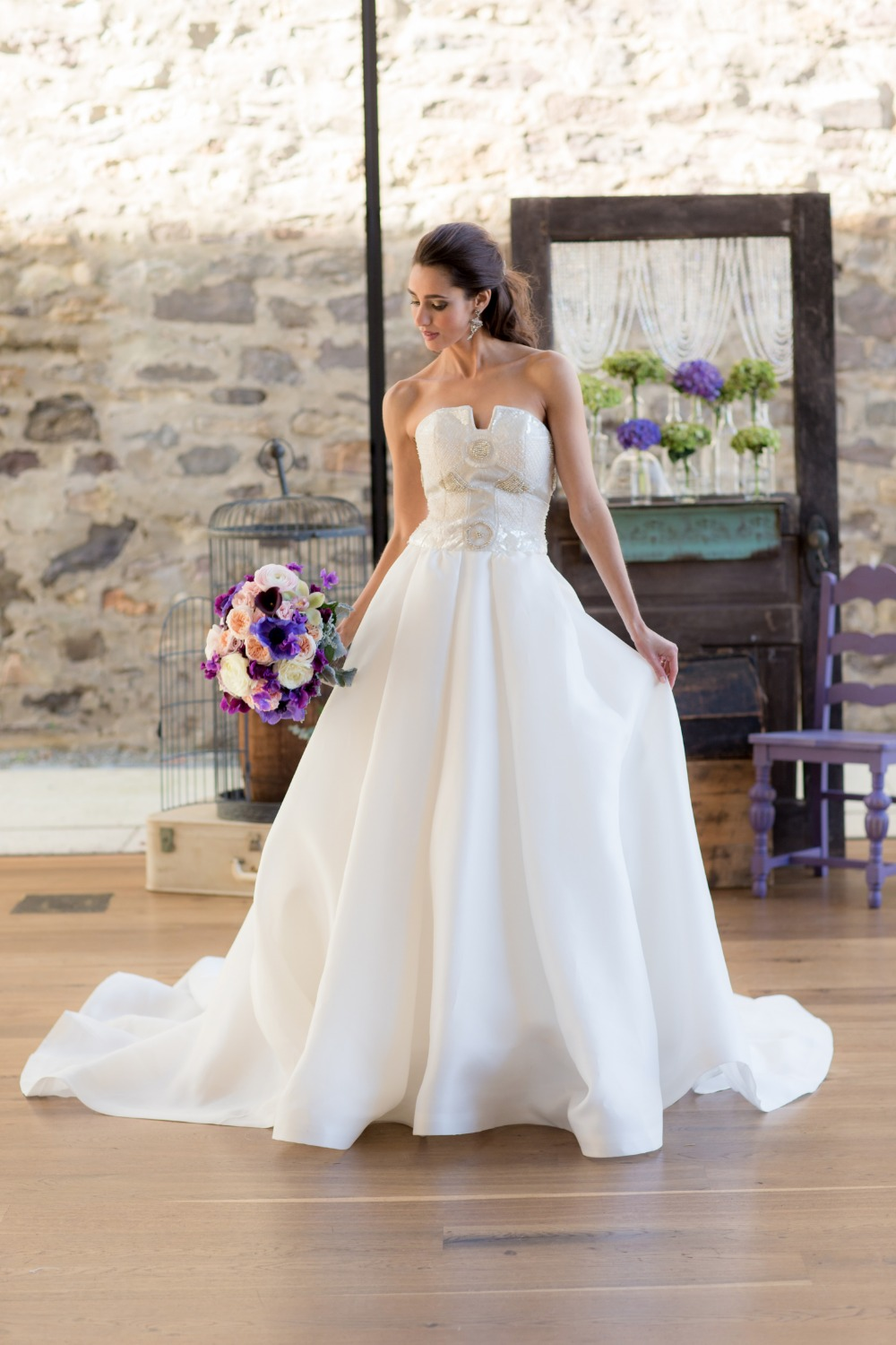 Sequin top wedding dress