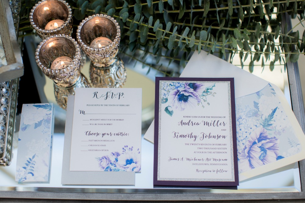 Purple floral invitation suite