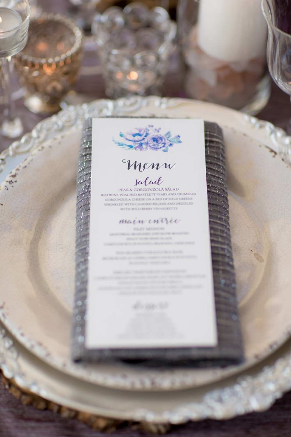Pretty wedding menu