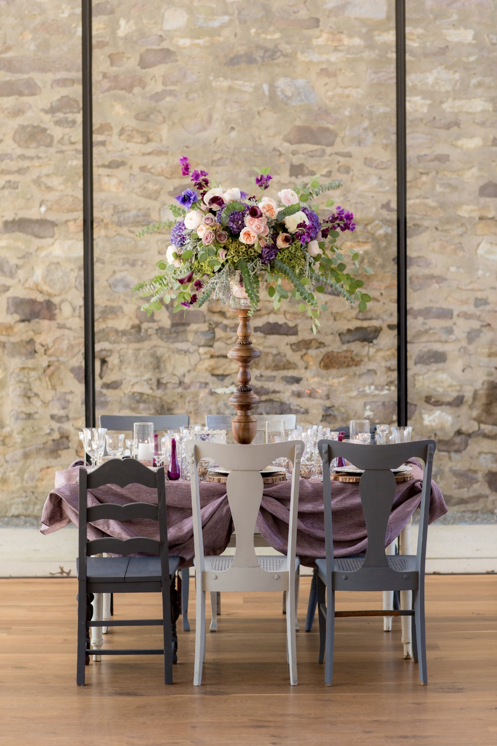 Purple and creme table decor