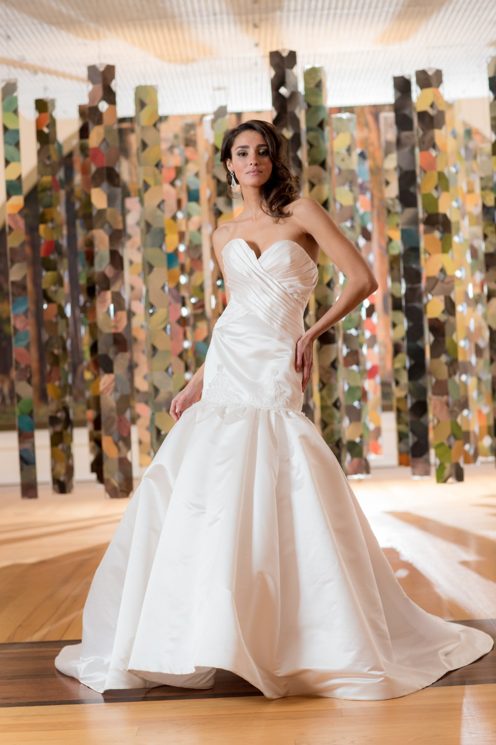 Satin wedding gown with sweetheart neckline