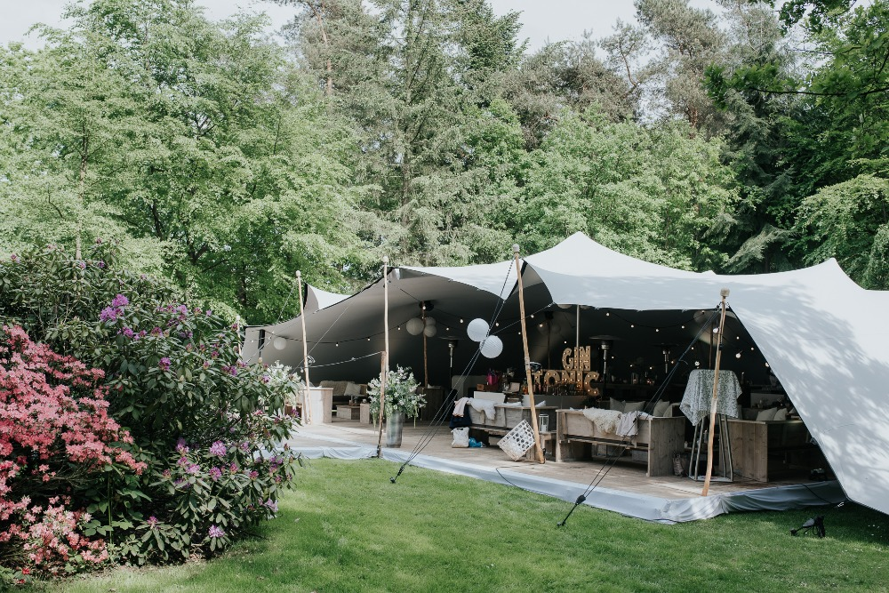 Stretched reception tent