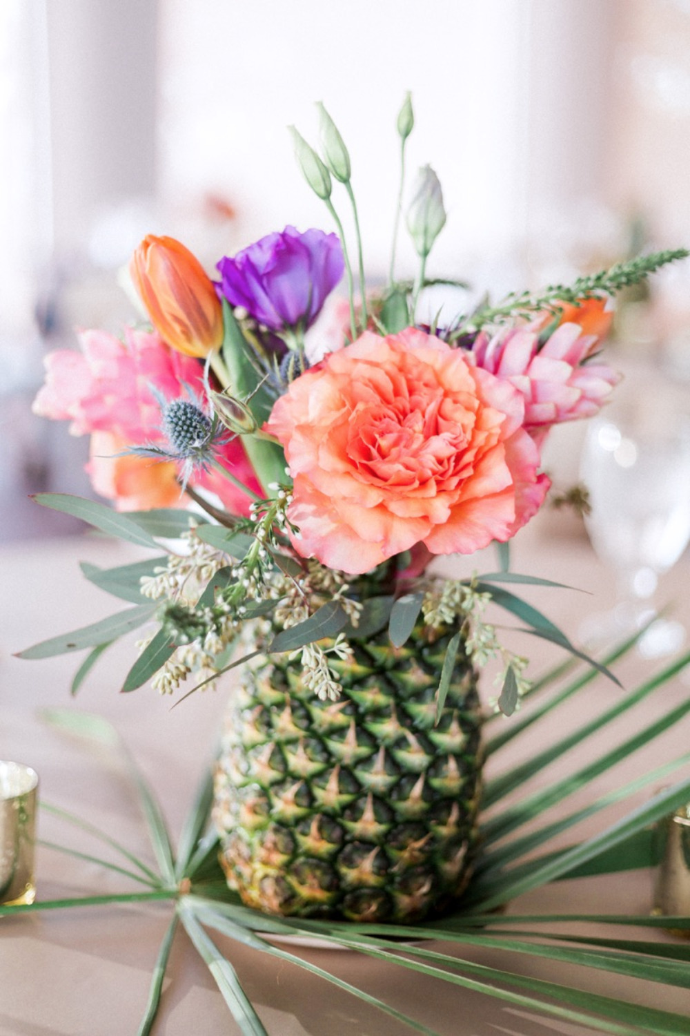 pineapple wedding floral centerpiece