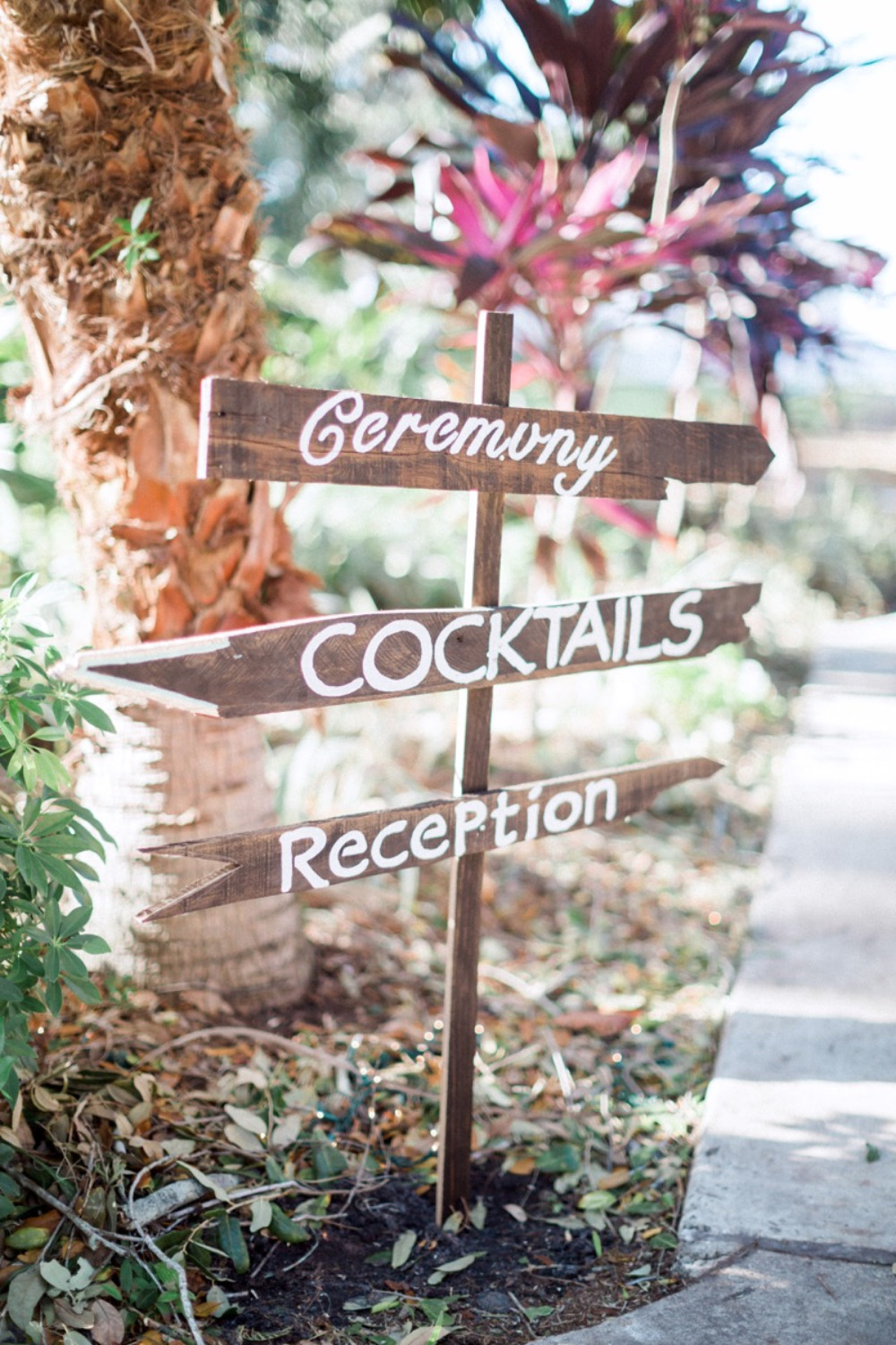 cute wood wedding directions sign