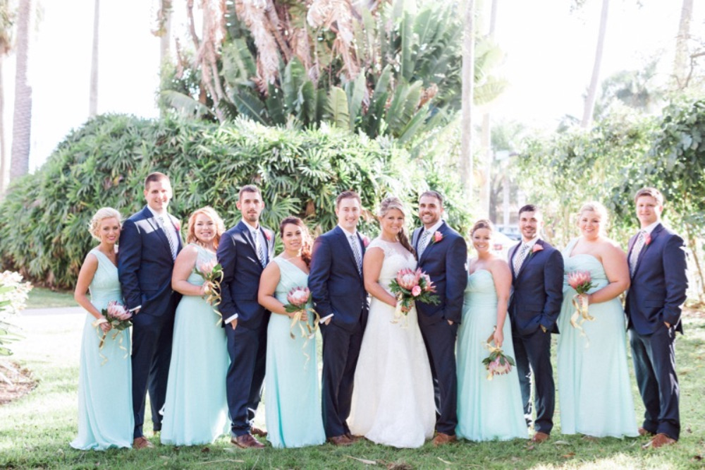 mint and navy wedding party