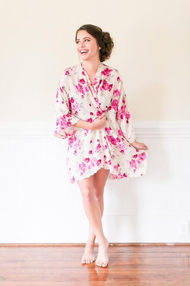 pink floral getting ready robe