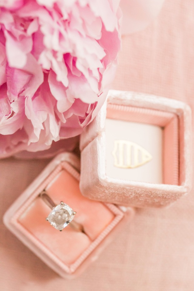 wedding ring in perfect peach ring box