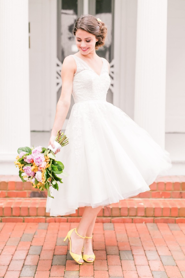 sweet bride in tea length wedding dress and yellow shoes
