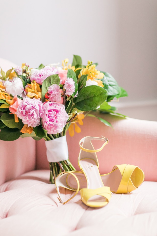 lemon yellow Kate Spade shoes and bright bouquet