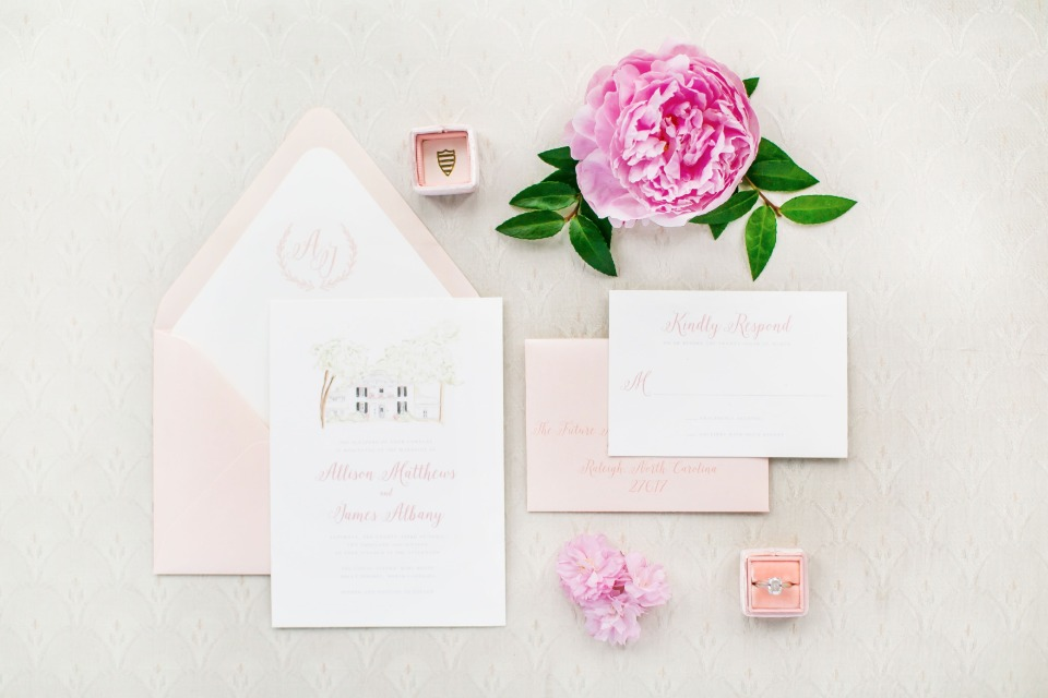 chic southern style wedding invitations in pink