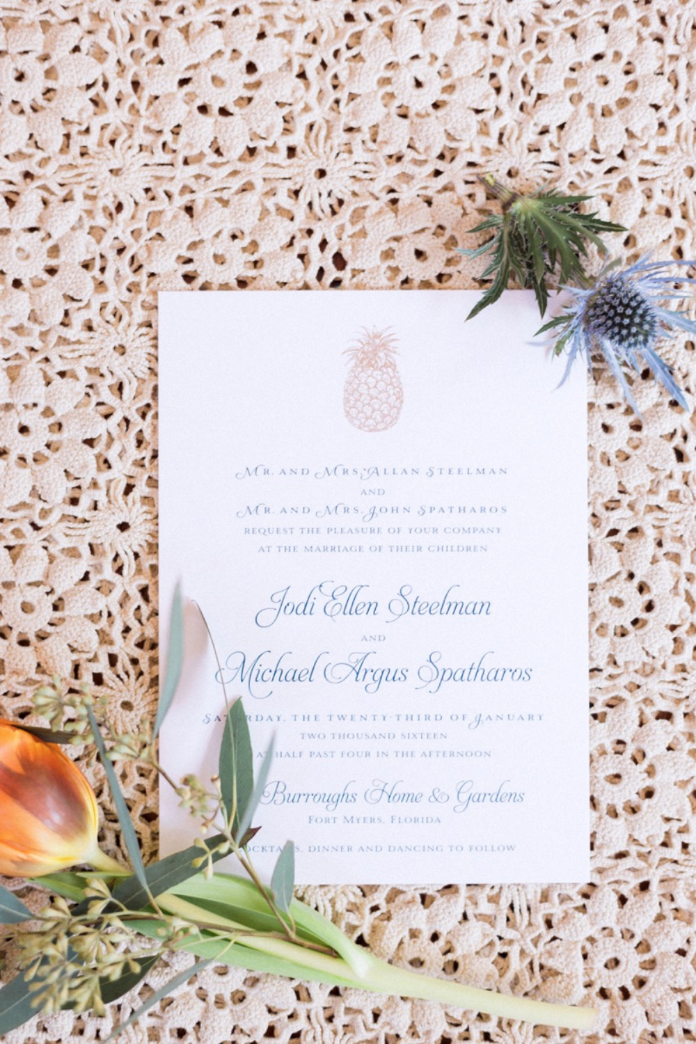 gold blue and white pineapple invites