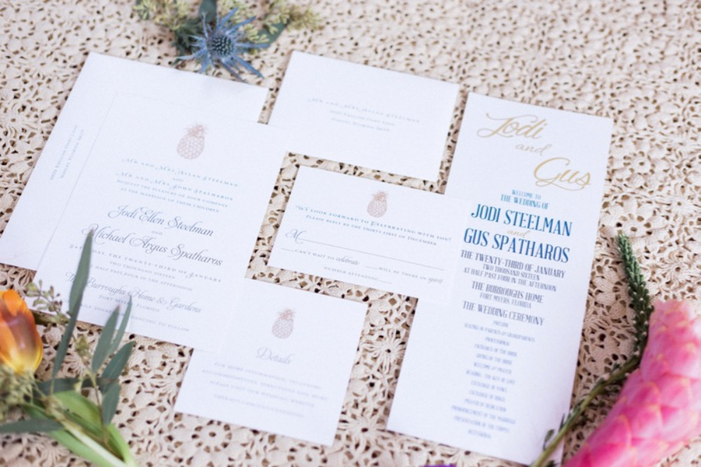 gold pineapple wedding invitations