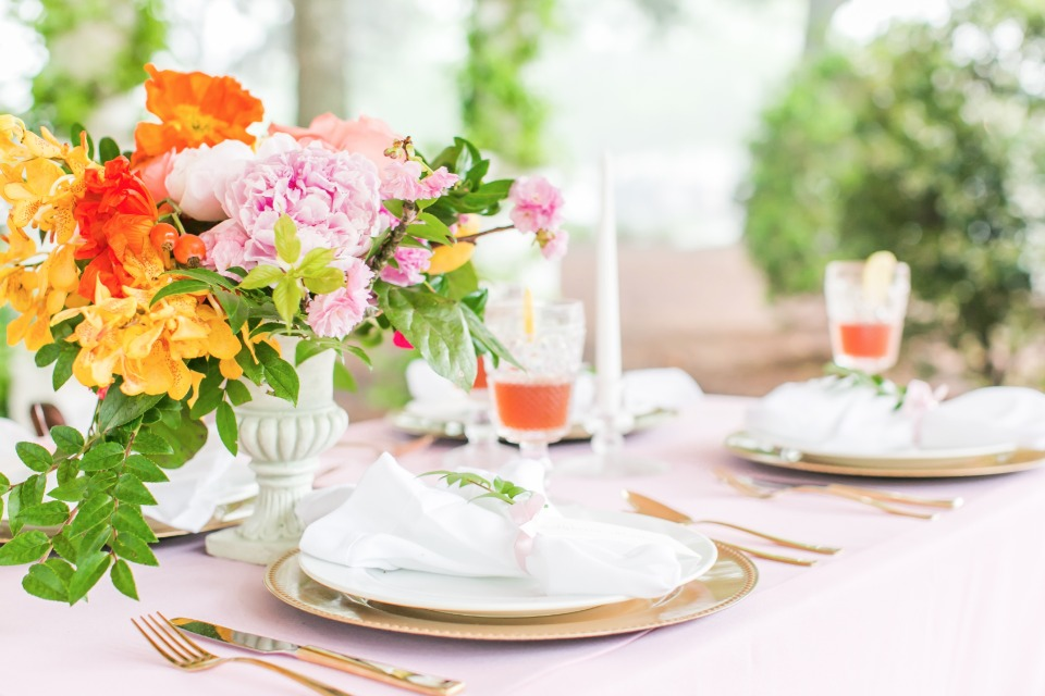 gold, pink, orange and yellow reception decor ideas