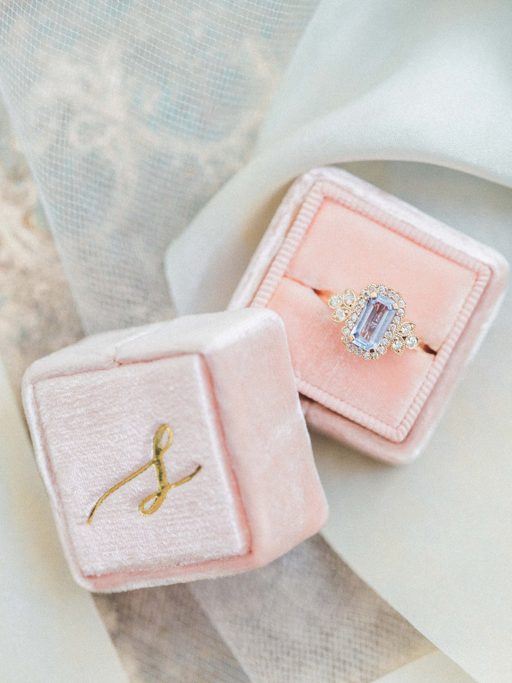 pink mrs box engagement ring