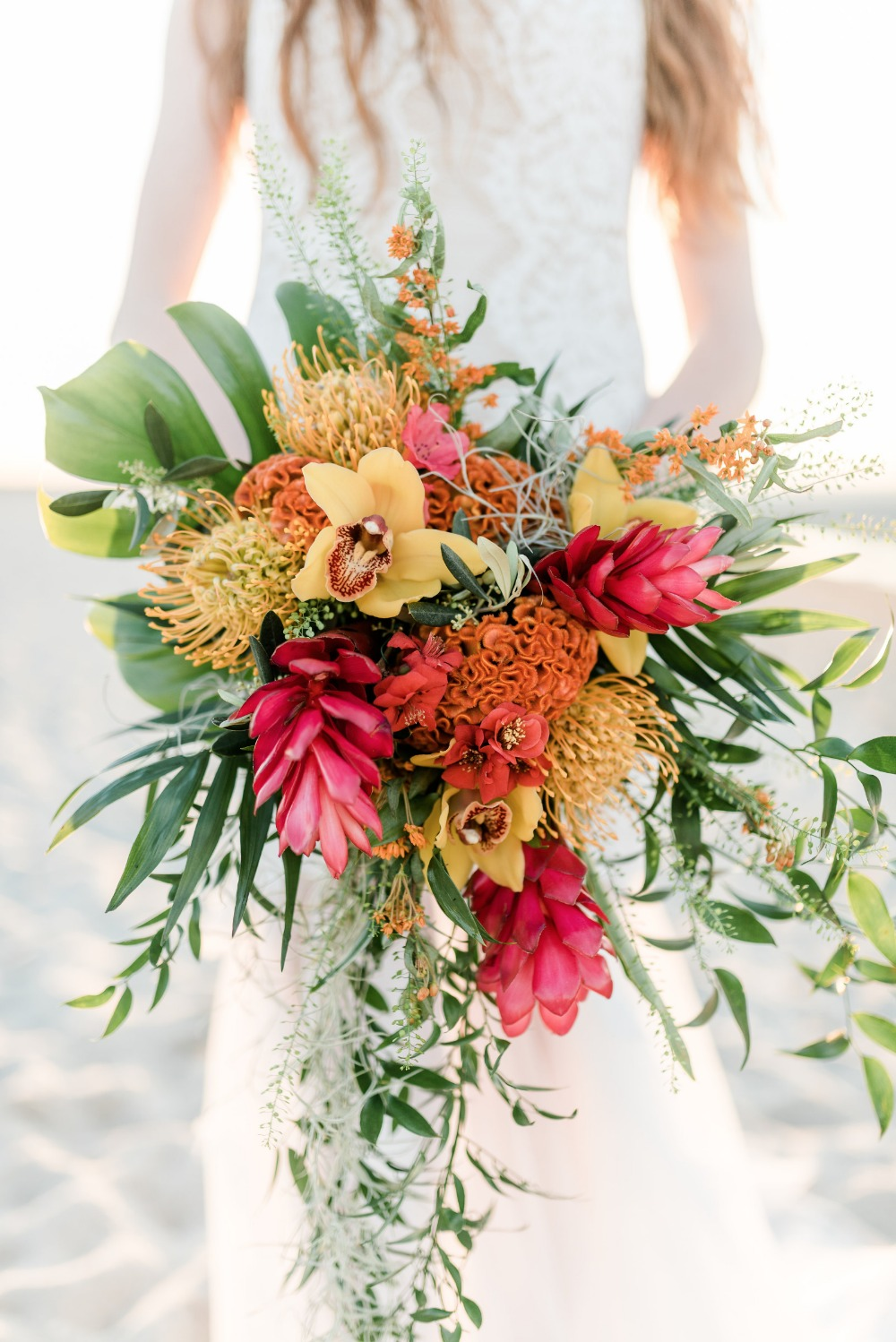 Red yellow and green tropical bouquet