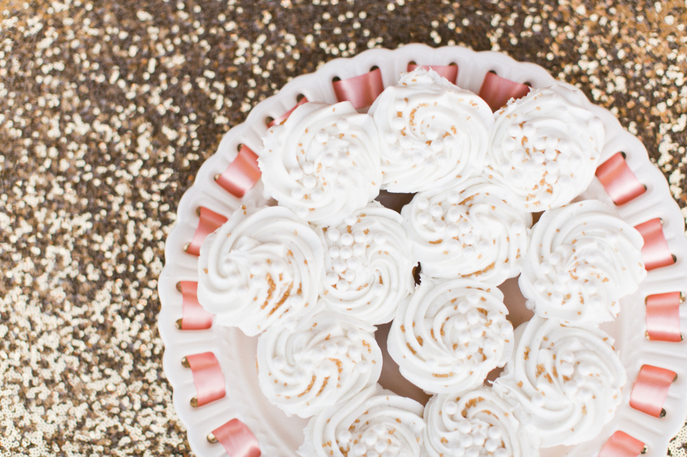 cupcakes with gold sprinkles