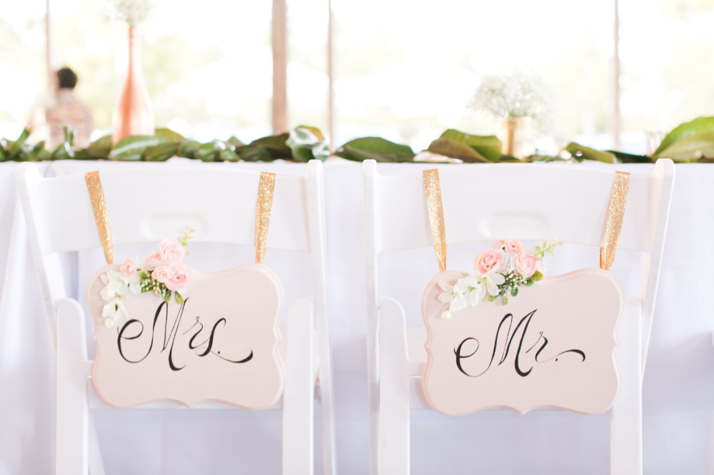 blush pink mr and mrs chair signs