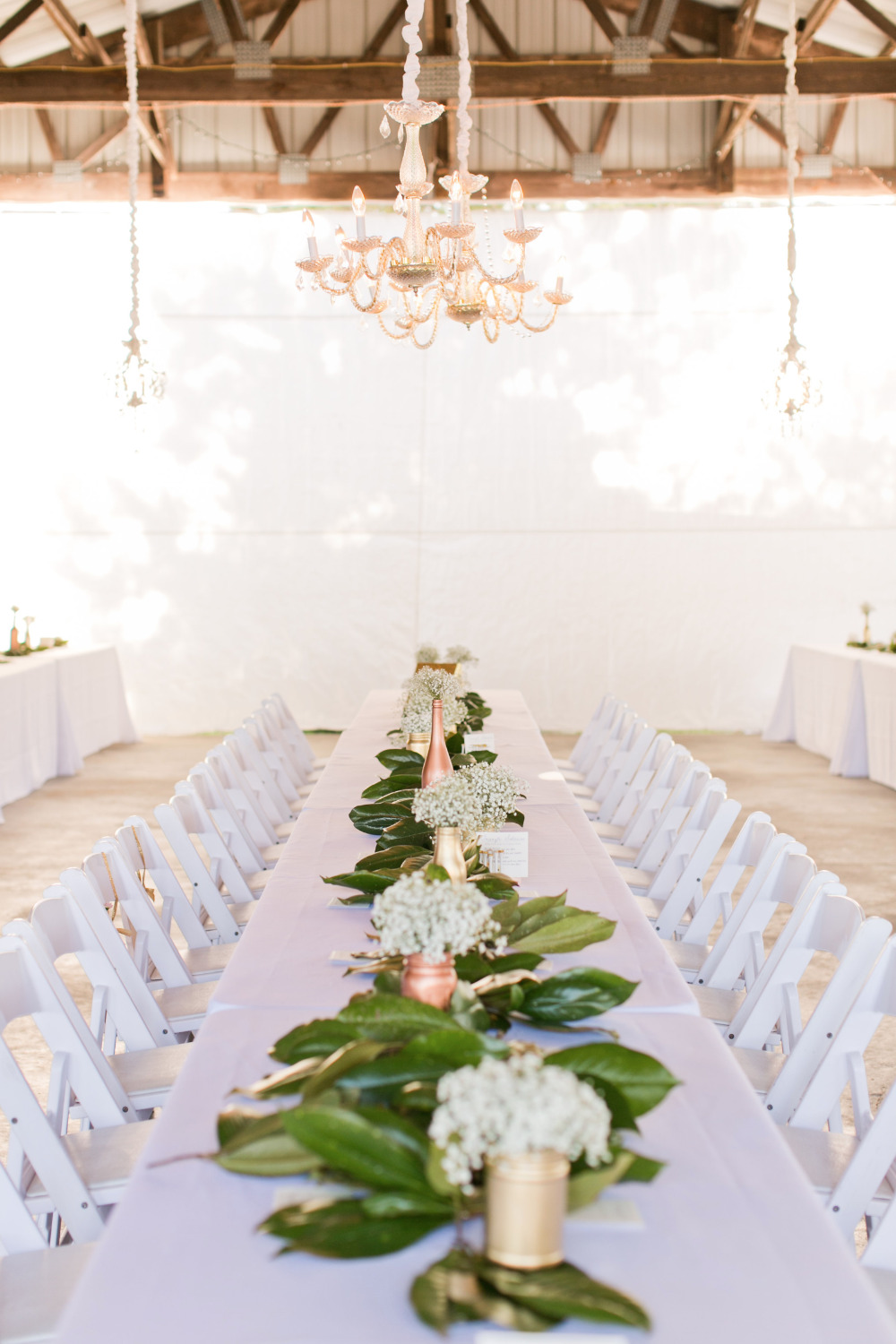 soft pink romantic barn wedding reception