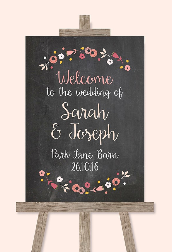 chalk board wedding sign