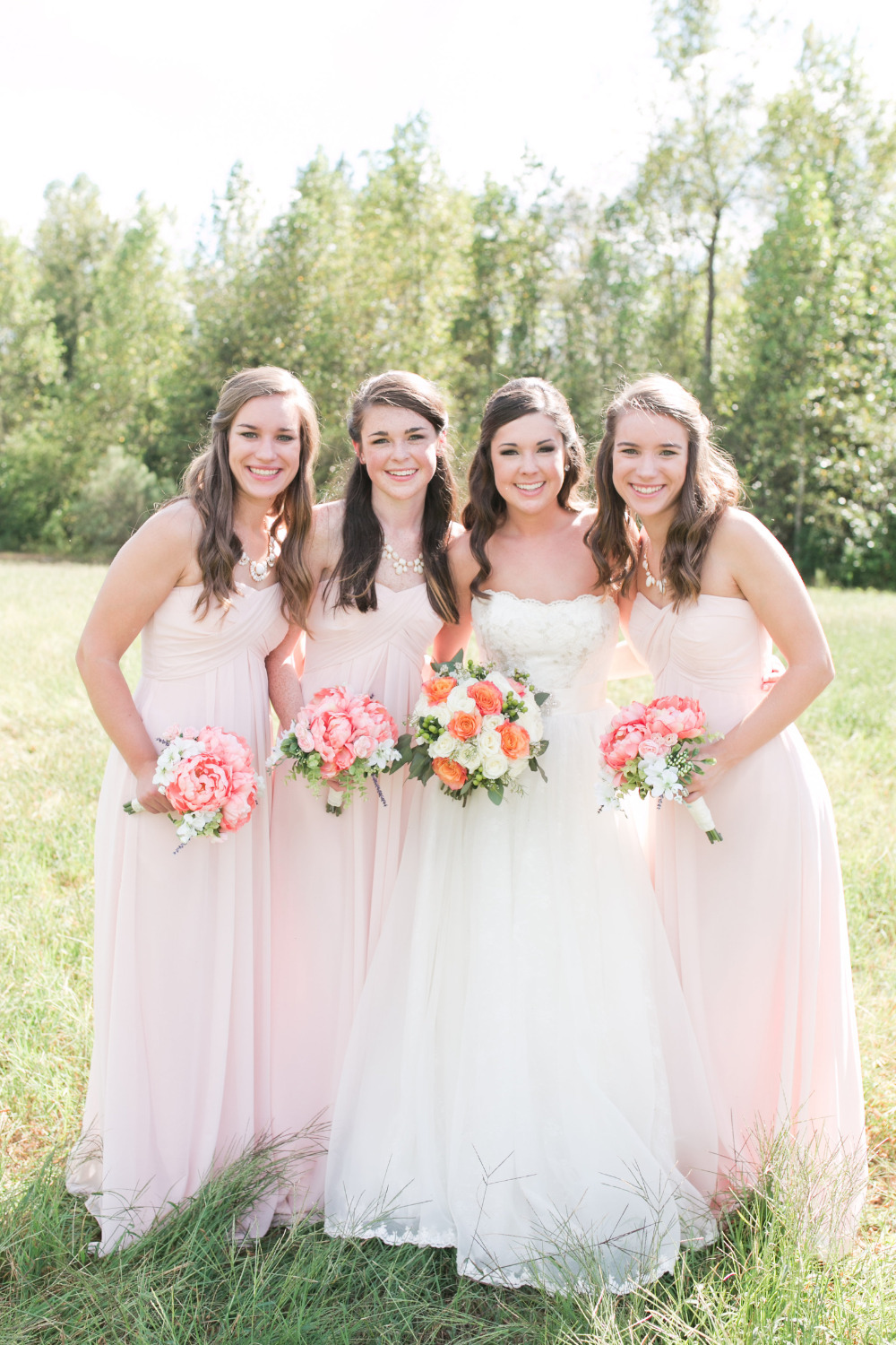 Pretty pink southern wedding beautiful pink floorlength bridesmaid dresses leanne and forrests charming south carolina outdoor wedding ombrellifo Choice Image