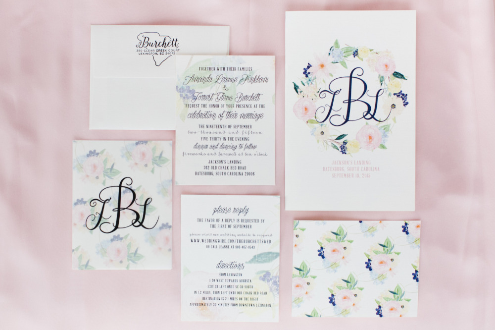 floral pink wedding invitations and suite