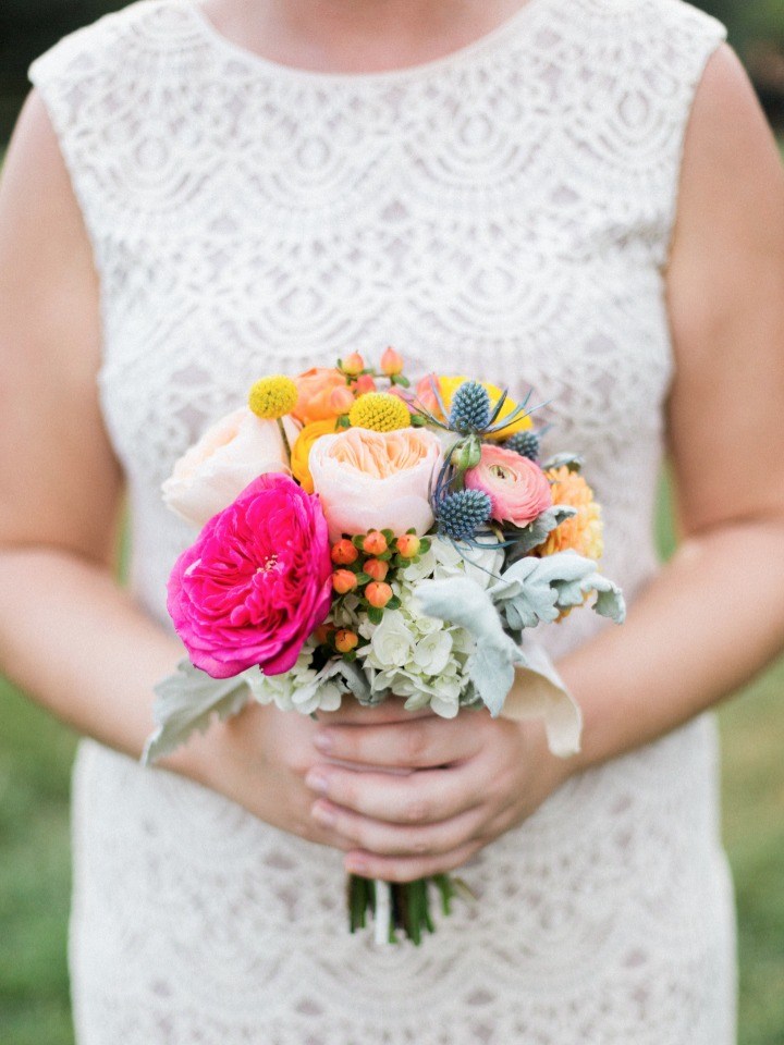 bridesmaids bouquet in bright colors