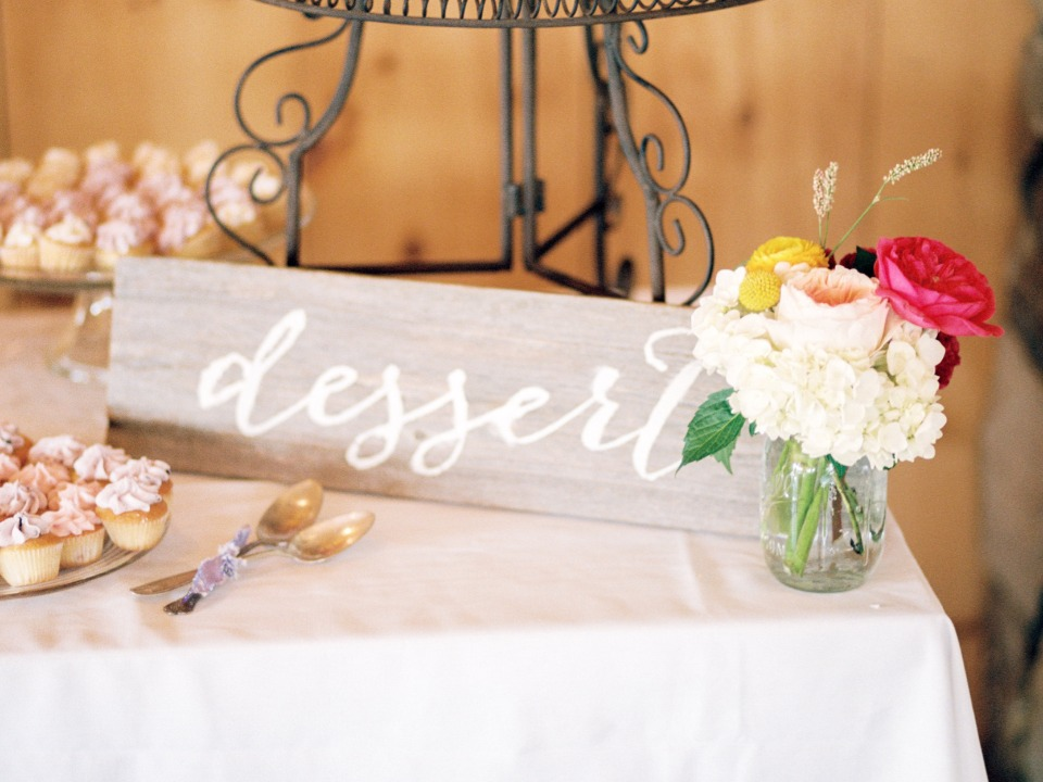 wooden calligraphy dessert table sign