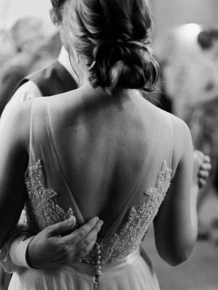 detail of the back of Watters wedding dress
