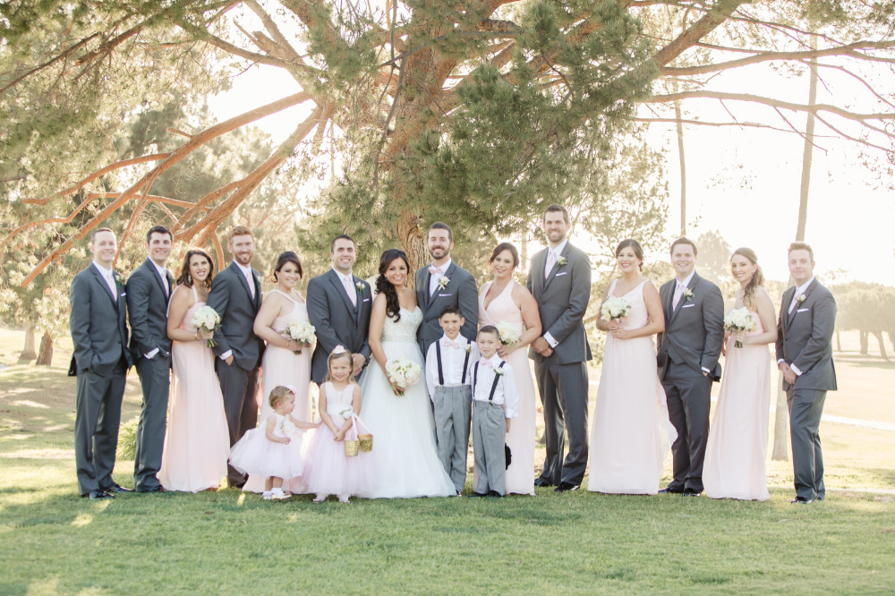 pink and grey wedding party