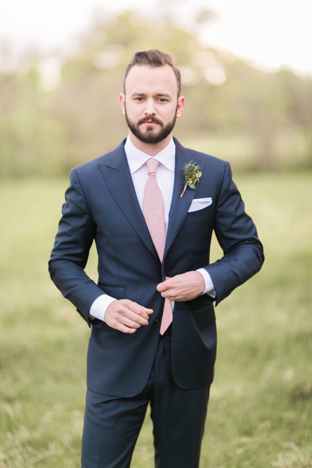 pink and navy groomsmen style