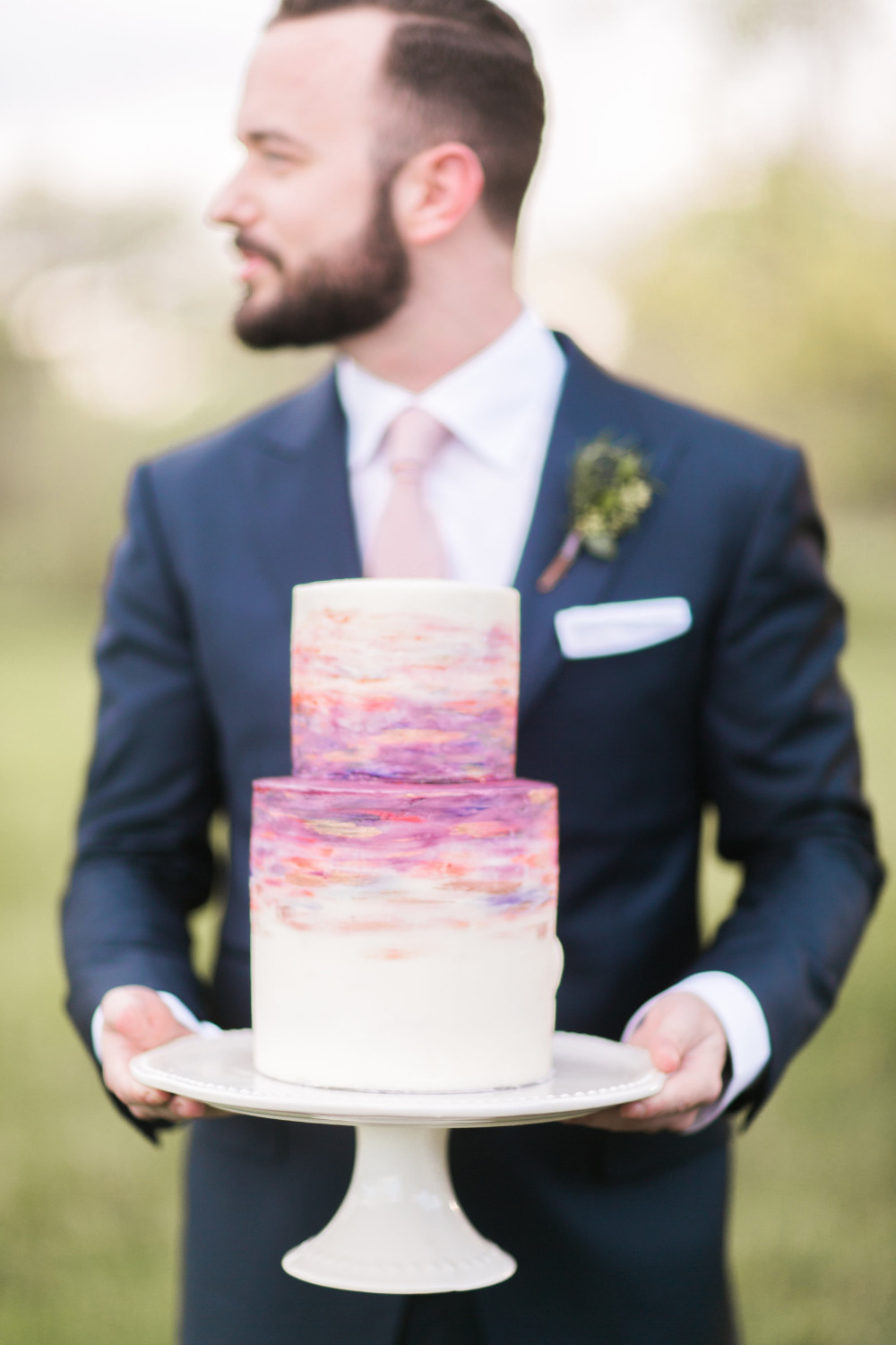 sunset inspired wedding cake