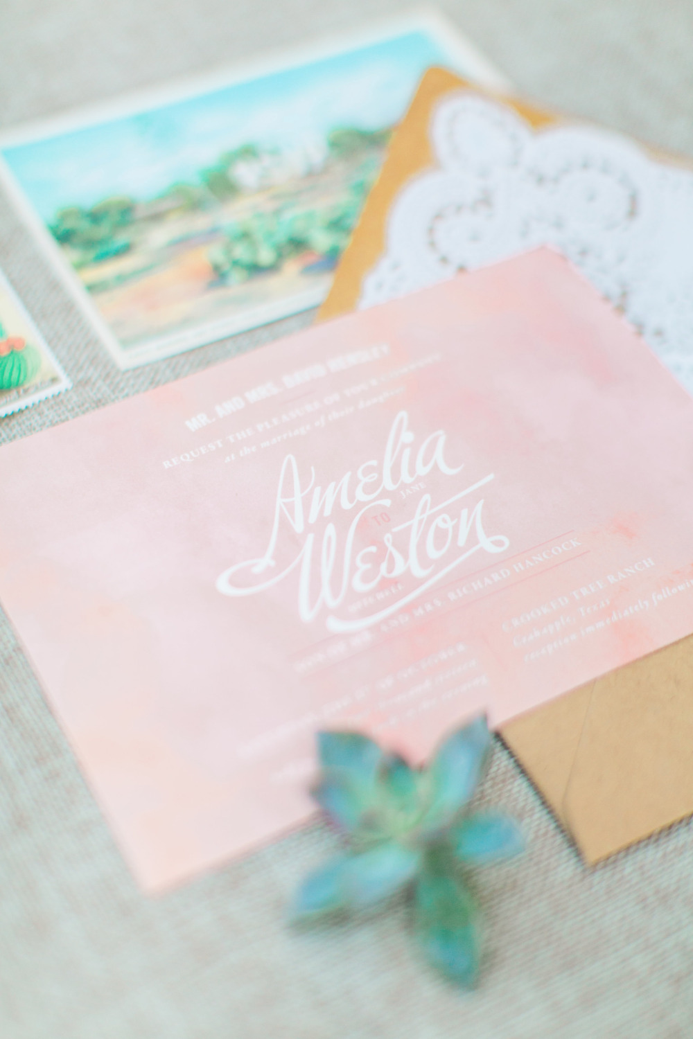 blush watercolor wedding invitation