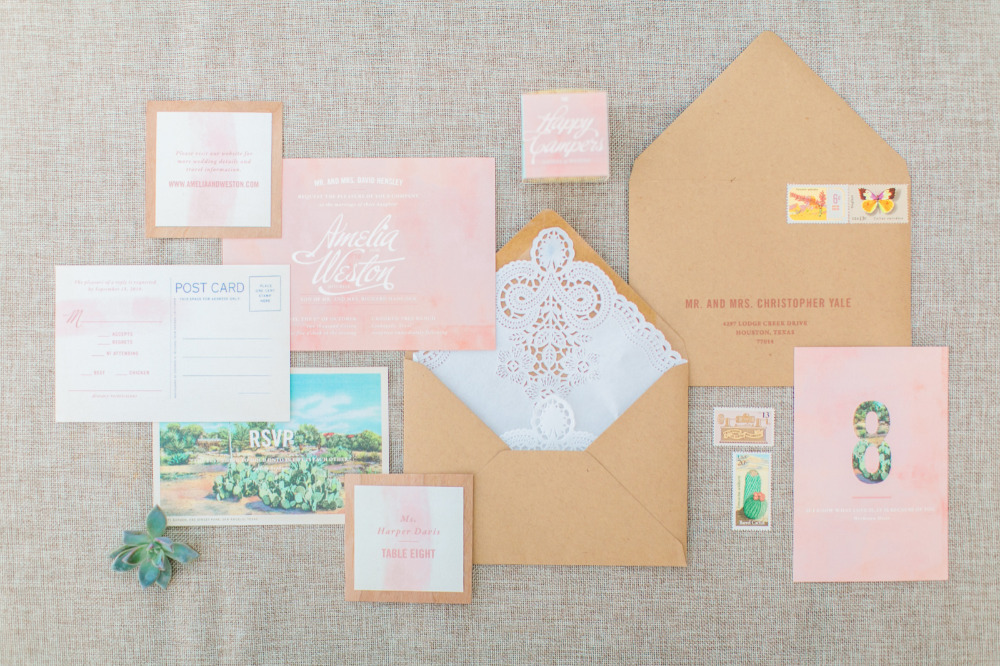 blush watercolor wedding invitation suite