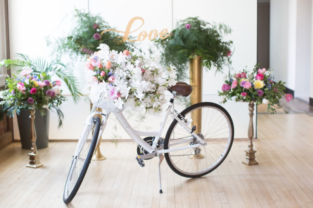 Cute wedding bike with flower basket