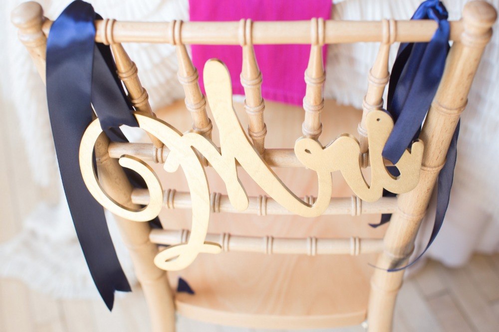 Gold and navy sweetheart chair sign