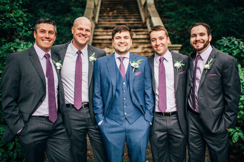 grey groomsmen with blue groom attire
