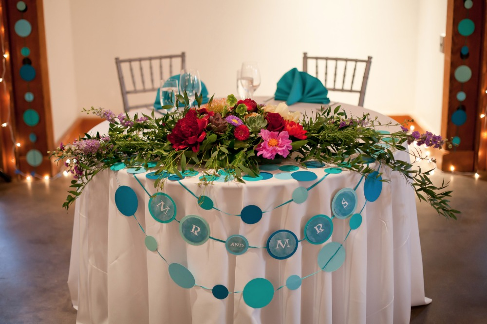 polka dot themed sweetheart table