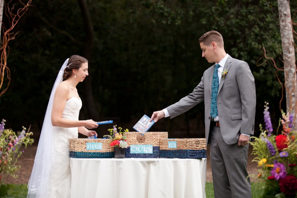 uniting his and her DVDs as a unique wedding ceremony idea