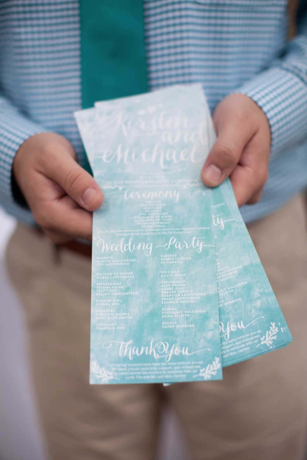 teal blue watercolor wedding program