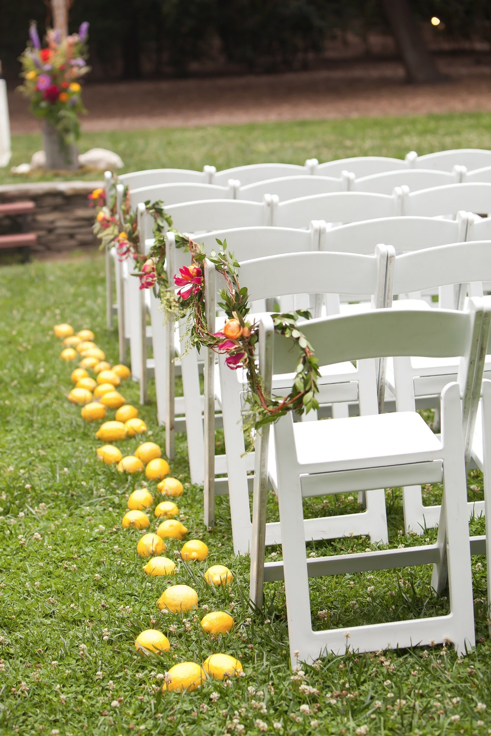 fresh lemon wedding aisle decor
