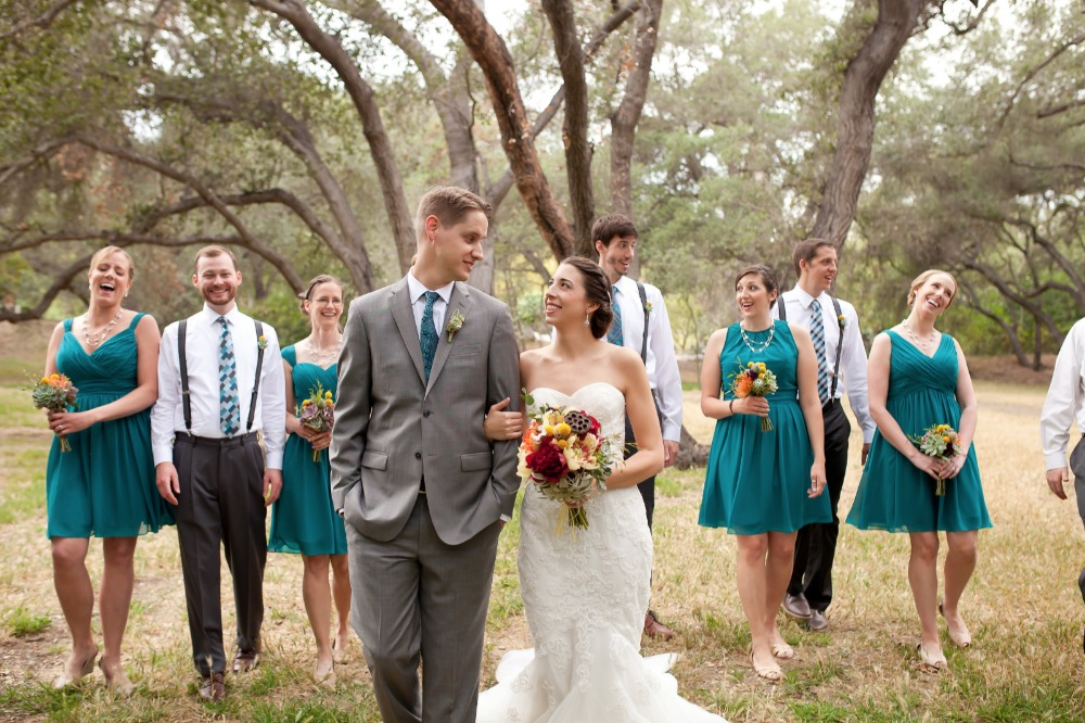 grey and teal wedding party