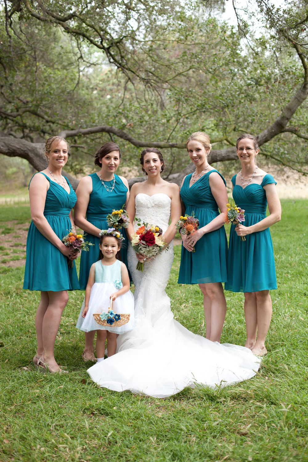 teal blue tea length bridesmaid dresses