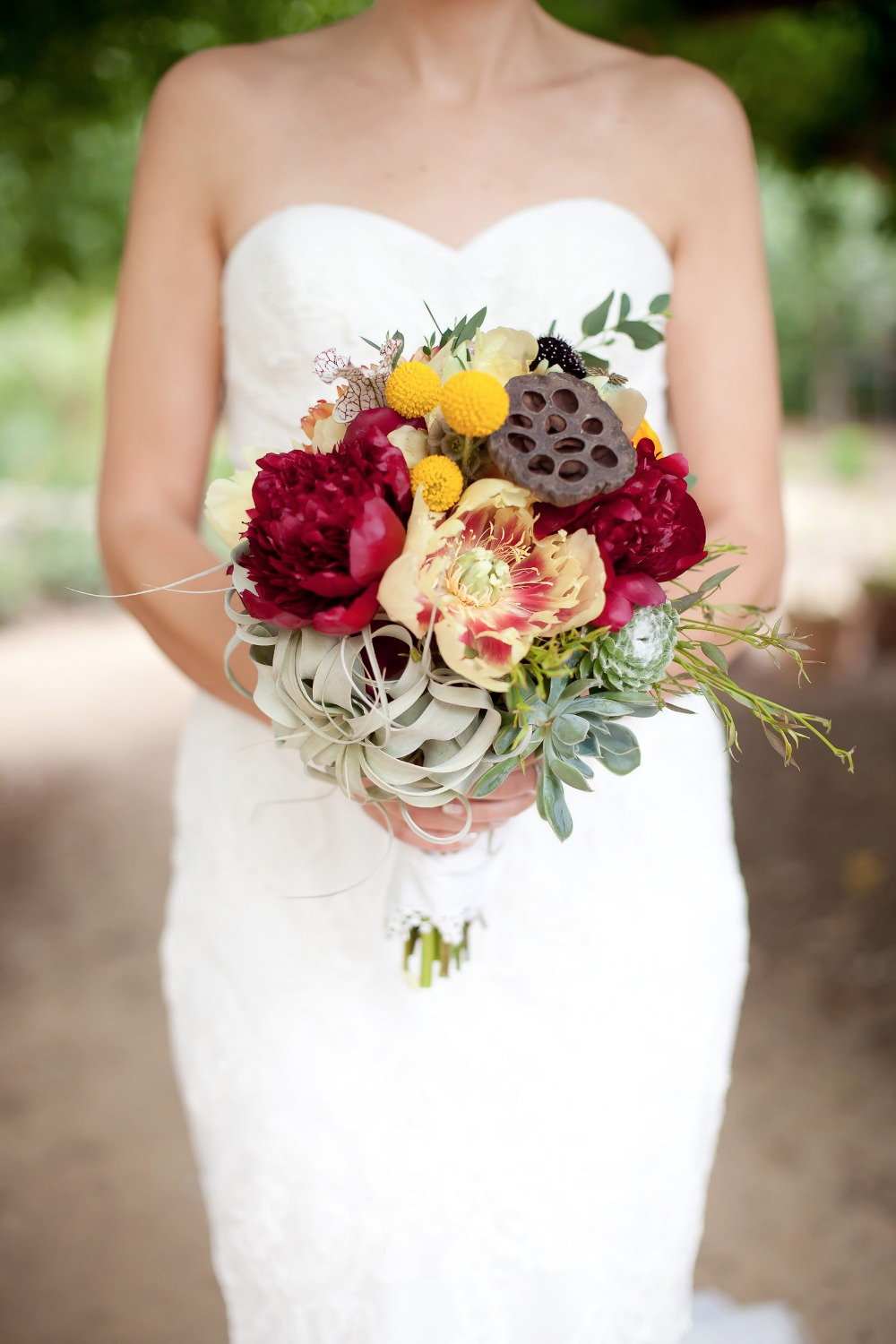 deep red and yellow wedding bouquet