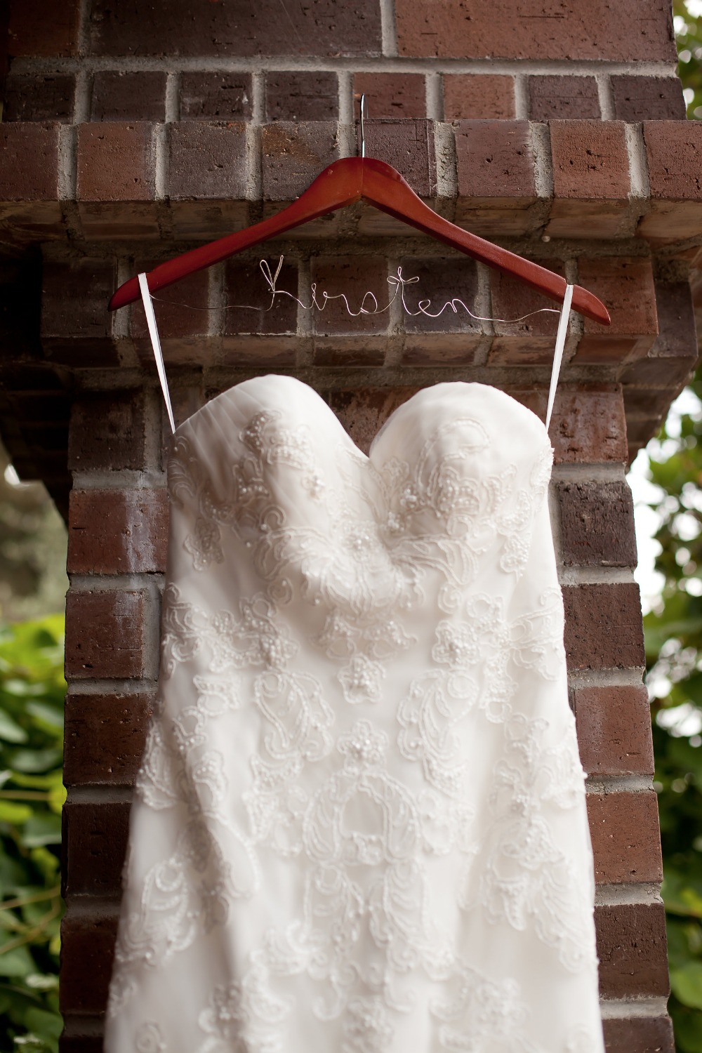 wedding dress hanger with wire writing