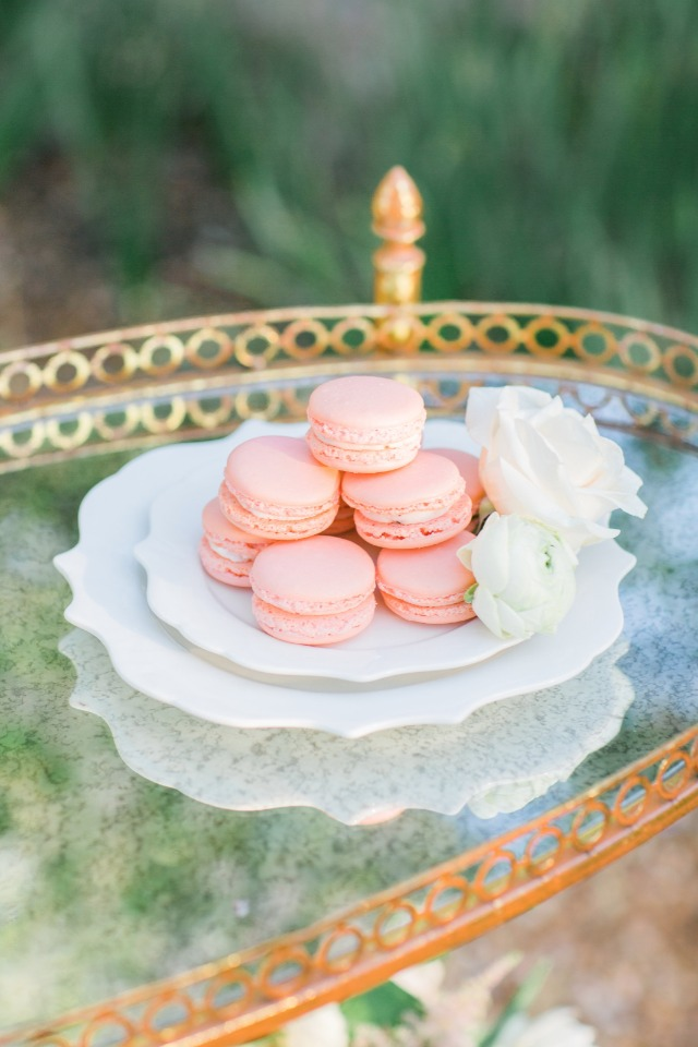 soft pink french macarons