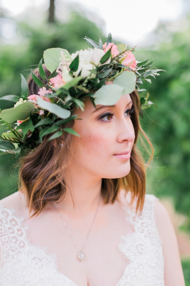 flower crown in pink white and silver dollar eucalyptus