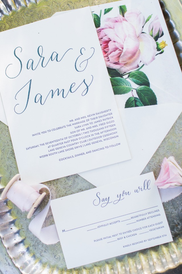 simple and chic wedding invitations from Papier Girl