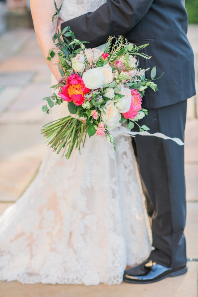 white and bright pink wedding bouquet