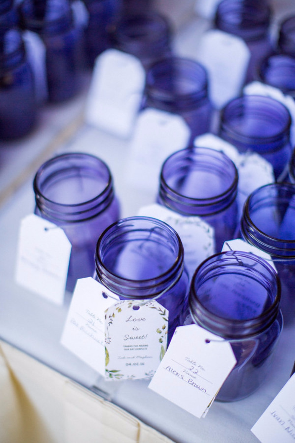 Purple jar favors